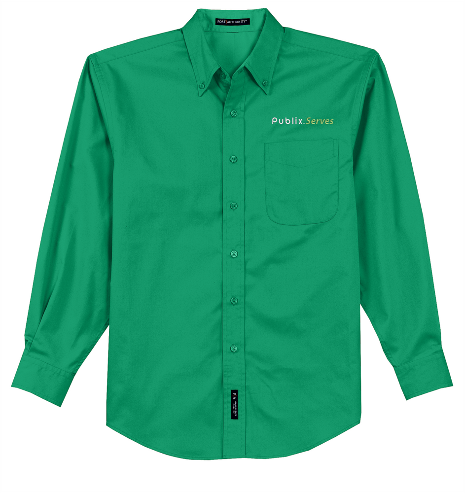 """Publix Serves"" Men's Green Long Sleeve Twill Shirt"