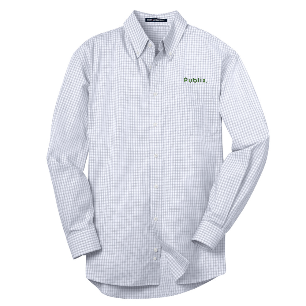 Port Authority® Plaid Pattern Easy Care Shirt - White/Light Grey