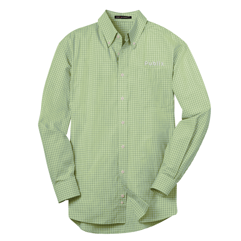 Port Authority® Plaid Pattern Men's Easy Care Shirt- Plaid Green