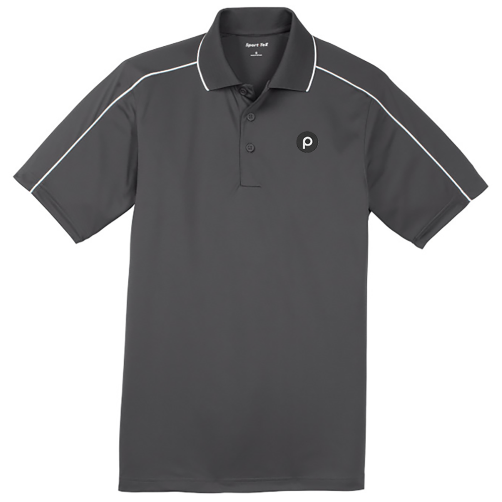 Sport-Tek® Micropique Sport-Wick® Piped Polo-IronGrey/White