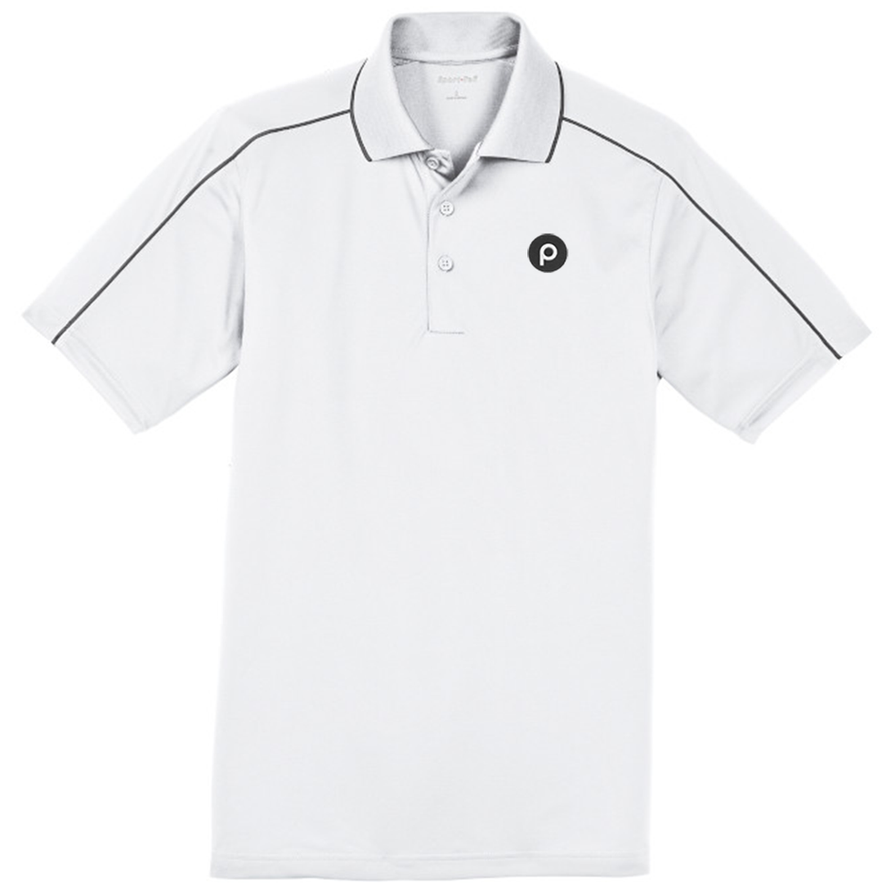 *Sport-Tek® Micropique Sport-Wick® Piped Polo-White/Grey stripe