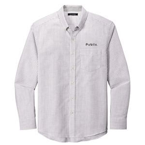 Port Authority® Men's SuperPro™ Oxford Stripe Shirt - Gusty Grey/White