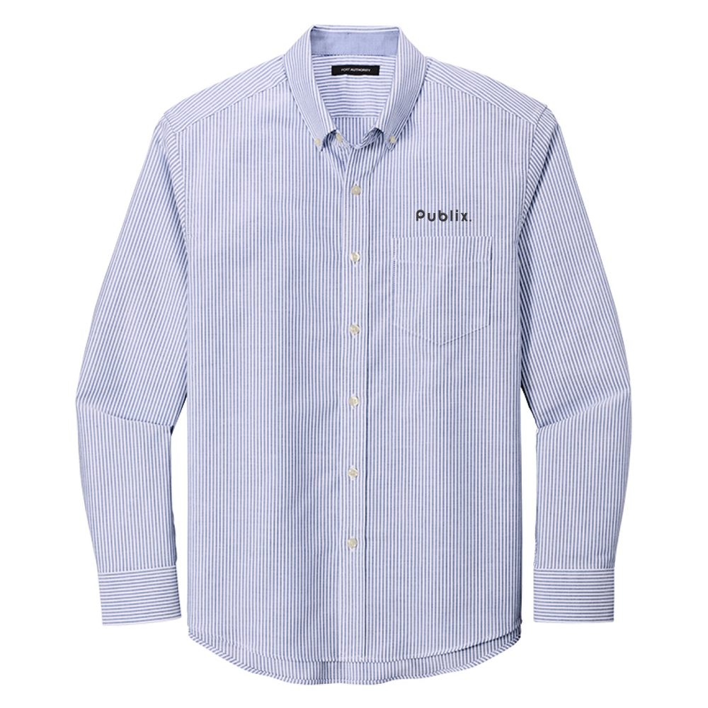 Port Authority® Men's SuperPro™ Oxford Stripe Shirt - Oxford Blue/White