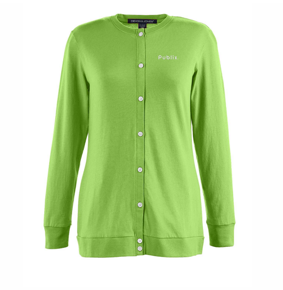 Ladies Perfect Fit Ribbon Cardigan - Lime Green