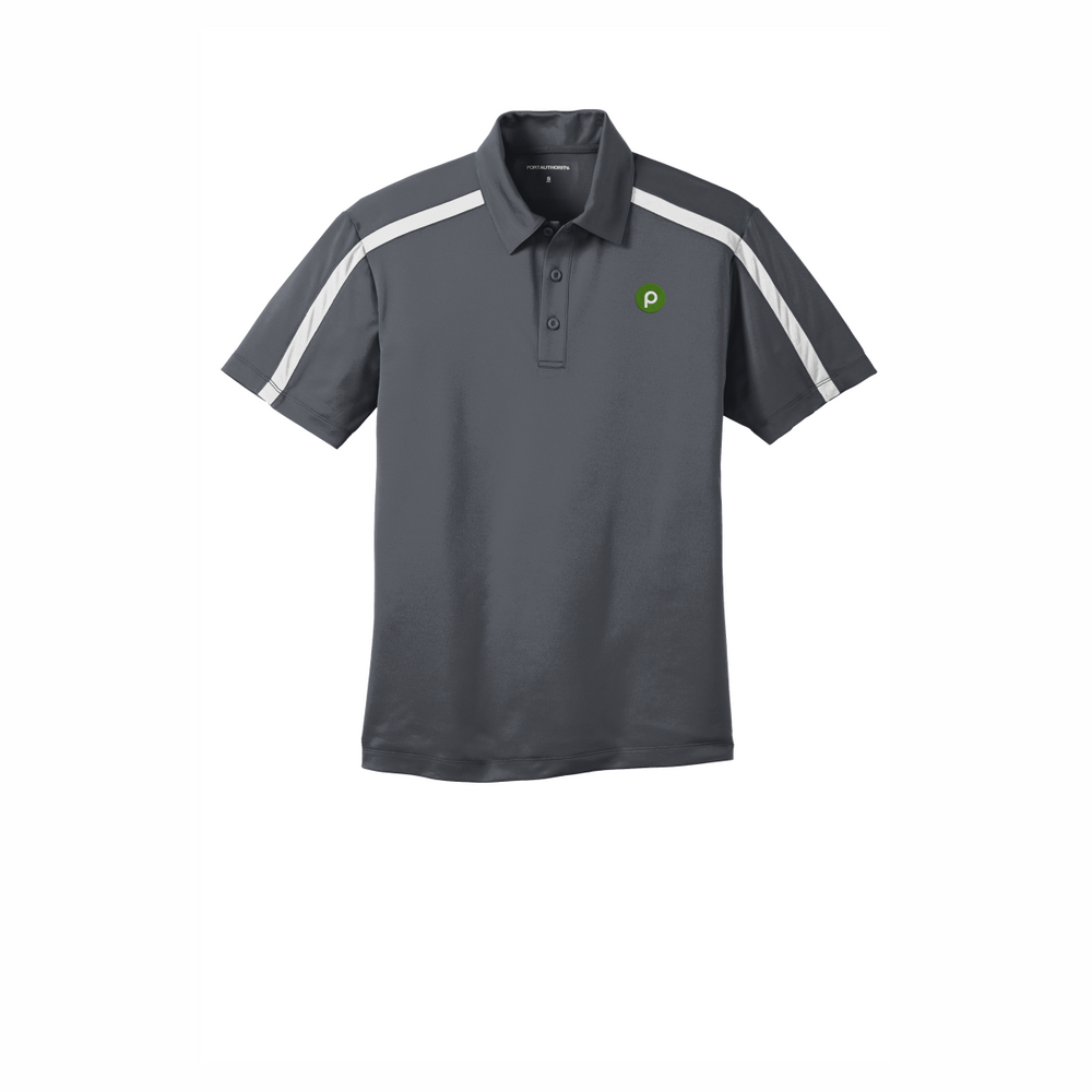 Clearance Port Authority Silk Touch Performance Colorblock Stripe Polo - Steel Grey/White