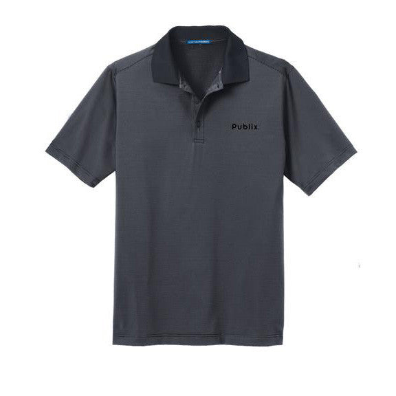 Port Authority® Fine Stripe Performance Polo - Graphite w/ Black Stripes with Publix Logo Type