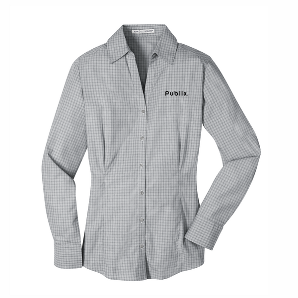 Ladies Port Authority® Plaid Pattern Easy Care Shirt - Charcoal  BARM APPROVED