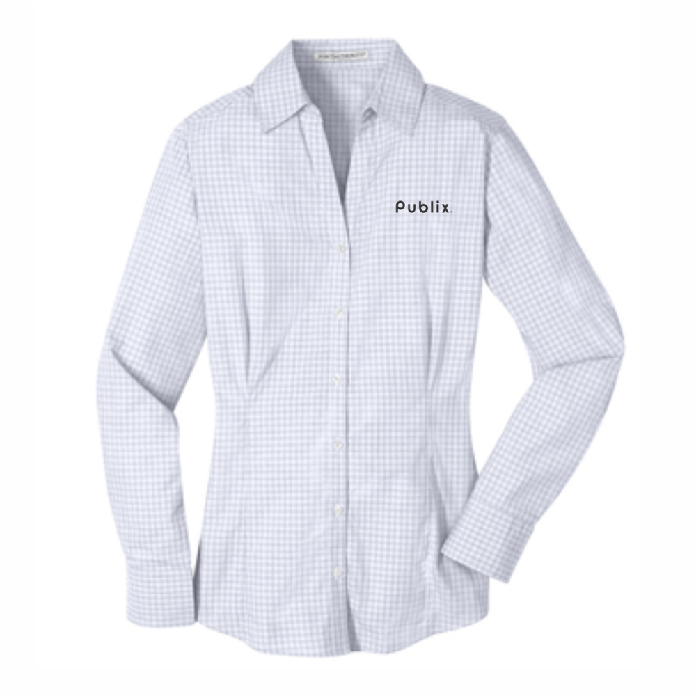 Port Authority® Ladies Plaid Pattern Easy Care Shirt - White/Grey