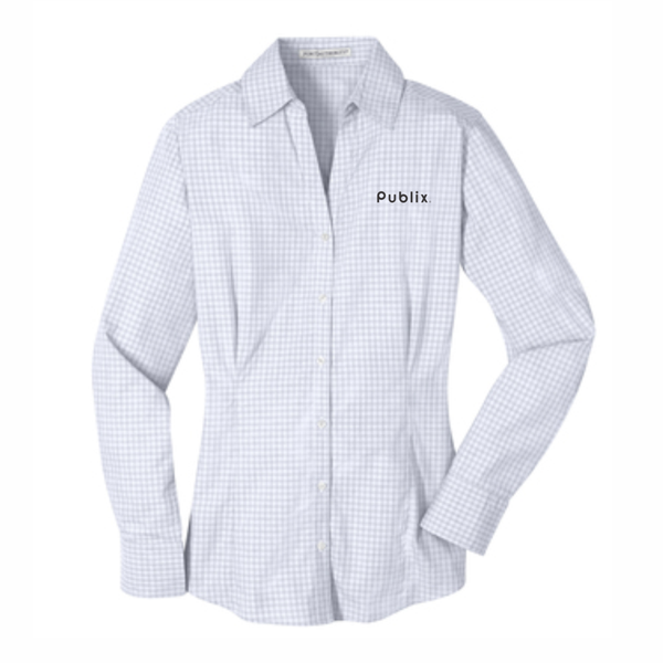 NEW Port Authority® Women's Plaid Pattern Easy Care Shirt - White/Grey - BARM APPROVED