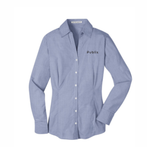 Port Authority® Women's Plaid Pattern Easy Care Shirt - Navy/Light Grey BARM APPROVED