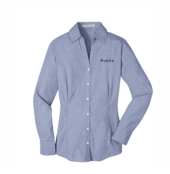 NEW Port Authority® Women's Plaid Pattern Easy Care Shirt - Navy/Light Grey BARM APPROVED