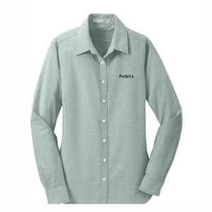 Ladies Port Authority SuperPro Oxford Green Shirt
