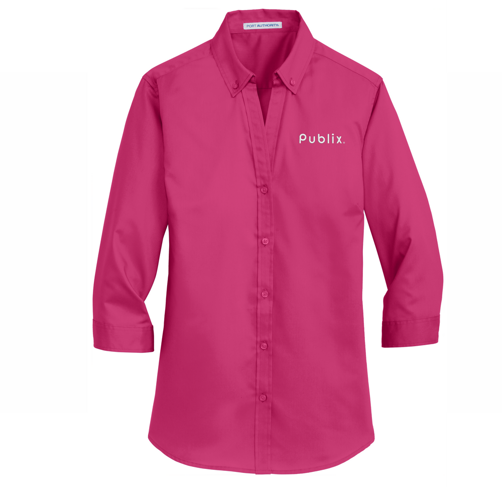 Ladies 3/4-Sleeve SuperPro™ Twill Shirt - PINK AZALEA