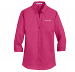 New!  Ladies 3/4-Sleeve SuperPro™ Twill Shirt - Pink Azalea