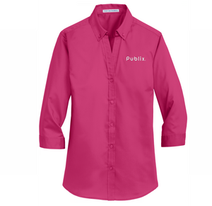 New!  Ladies 3/4-Sleeve SuperPro™ Twill Shirt - BARM Approved - Pink Azalea
