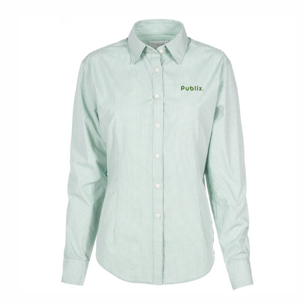 Ladies Green Gingham Check Van Heusen Dress Shirt - BARM APPROVED