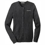 Port Authority® Ladies Jewel-Neck Cardigan Sweater - Charcoal Grey Button up