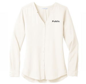 Ladies Long Sleeve Button-Front Blouse  - Ivory Chiffon