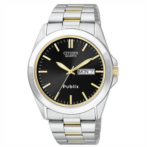 Citizen Men's Two-tone Stainless Watch w/Round Black Dial