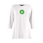 Clearance Glitter Print - Ladies Bracelet Length Sleeve - Soft Knit Top - with Publix Brandmark - White