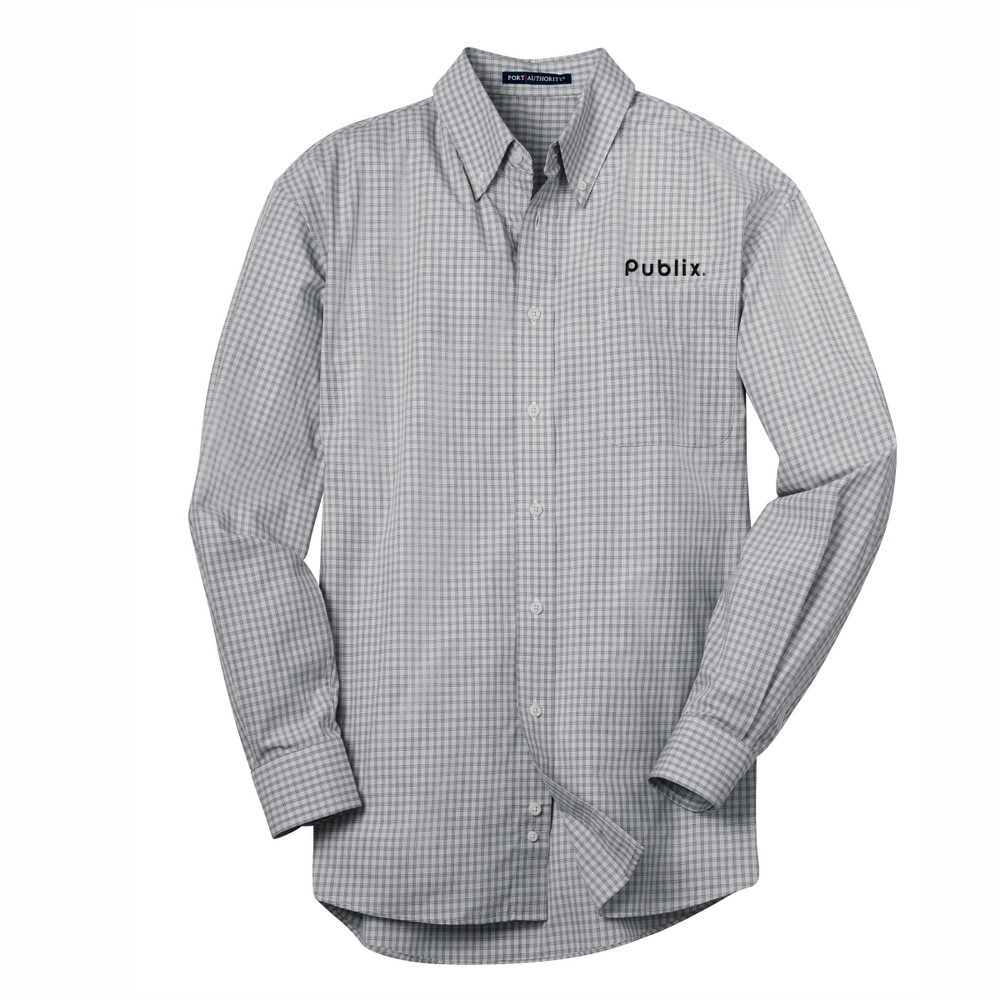 Port Authority® Plaid Pattern Easy Care Shirt - Charcoal  BARM APPROVED