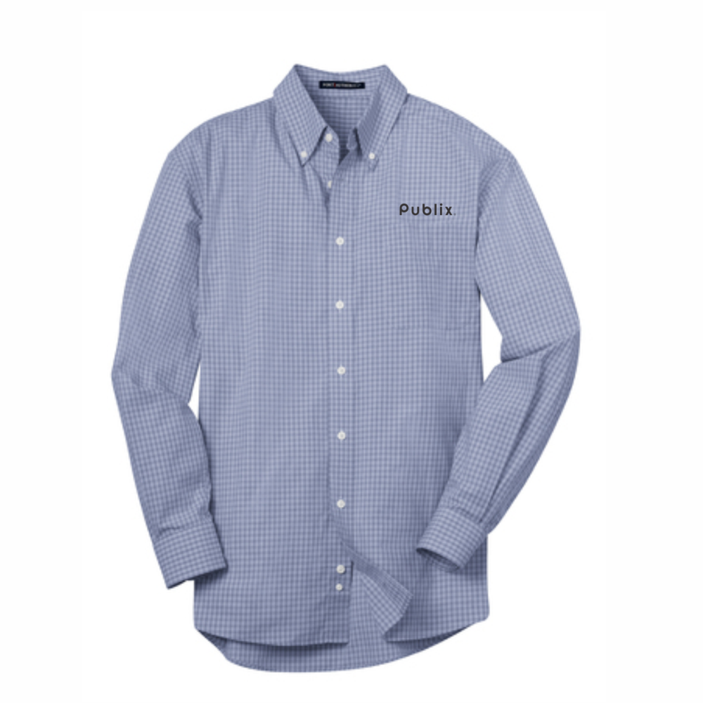 Port Authority® Plaid Pattern Easy Care Shirt - Navy/Light Grey - BARM APPROVED