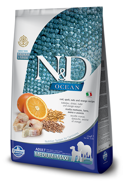 Farmina N&D Ancestral Grain Ocean Fish & Orange Med/Maxi Dry Dog Food