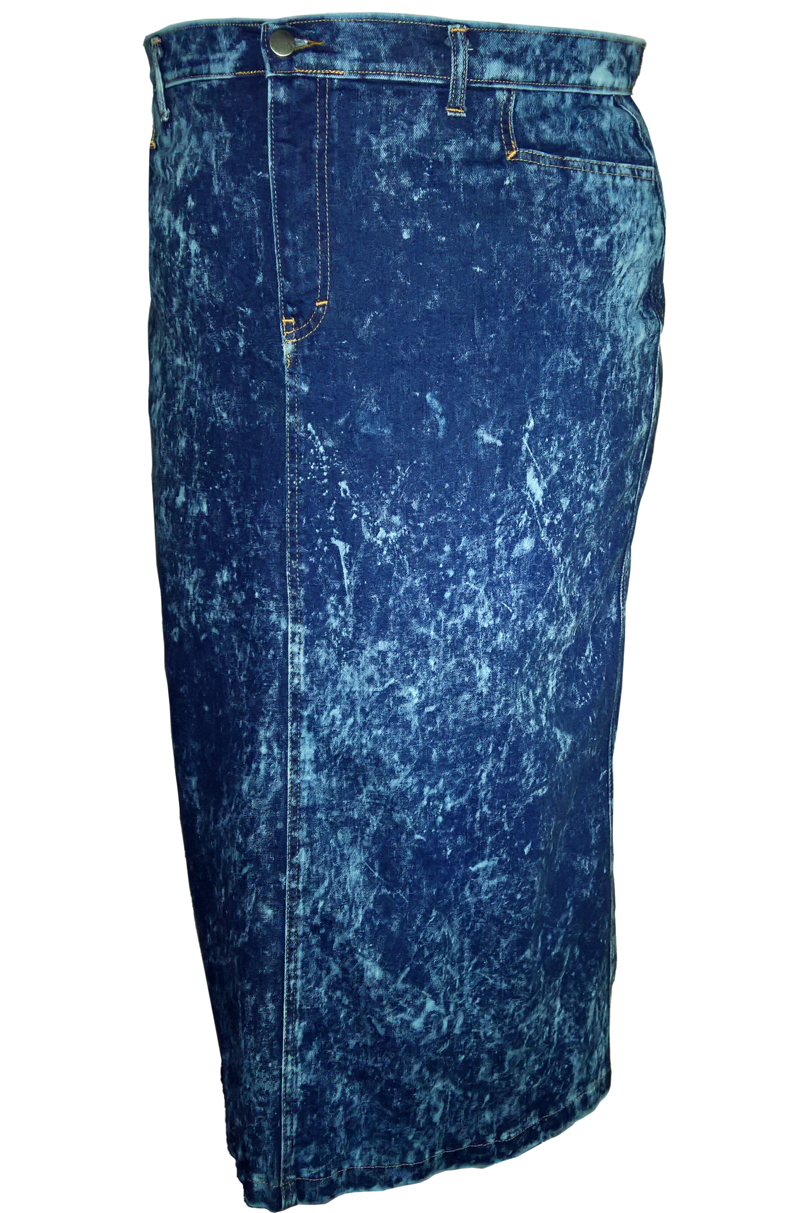Women/Plus Straight Maxi Acidwash Denim Skirt