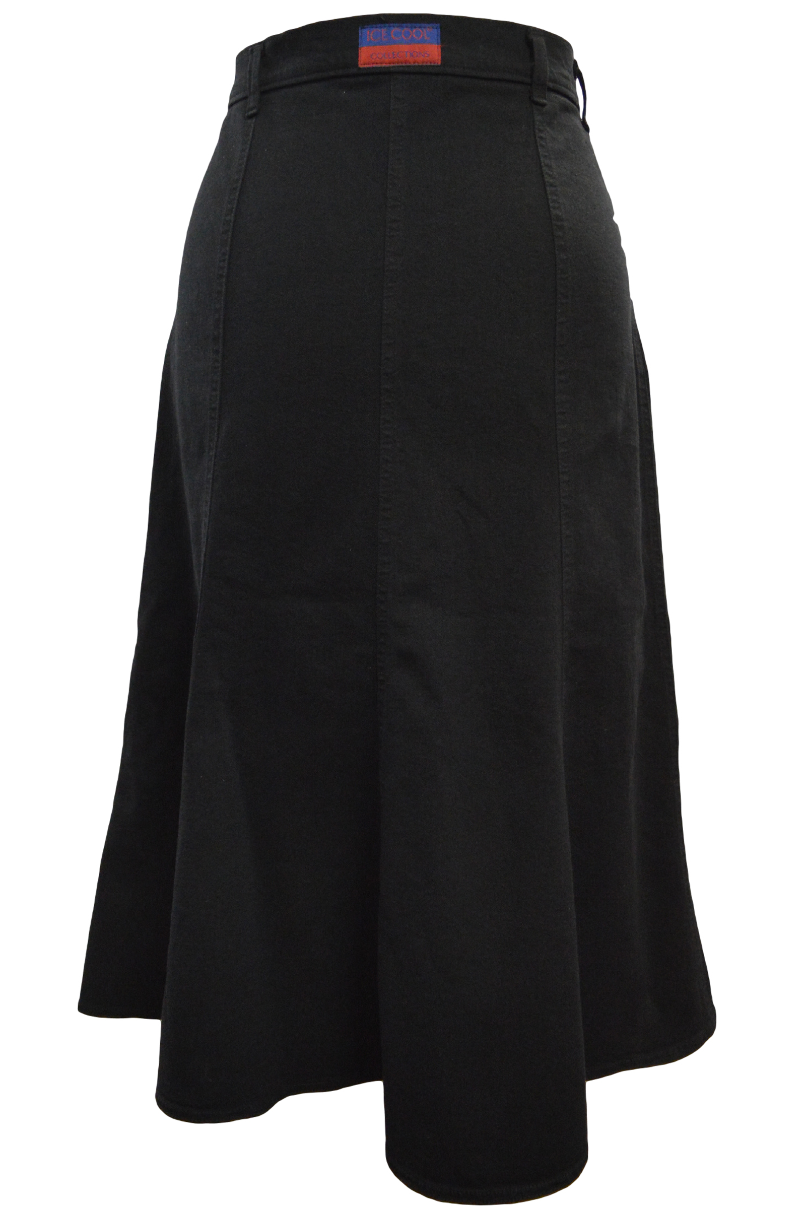 Women/Plus Long Flared Black Stretch Denim Skirt