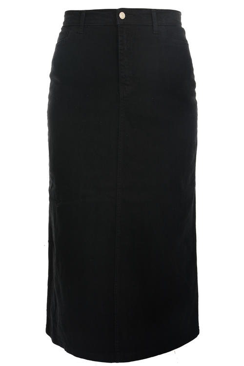 Women/Plus Straight Maxi Black Stretch Denim Skirt
