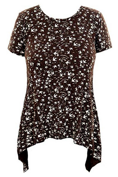 H-SPECIAL Women/Plus Arrow Tunic with Bird Pattern, Brown