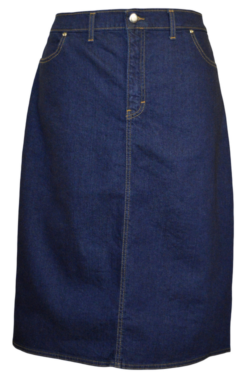Women/Plus Pencil Straight Hem Indigo Denim Skirt