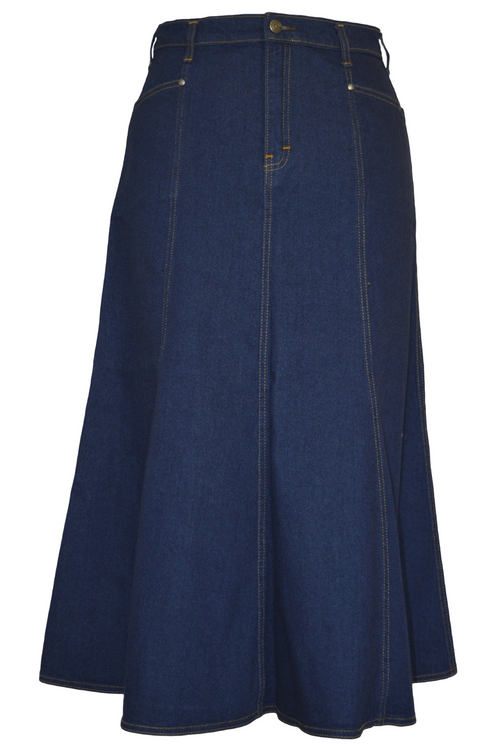 Women/Plus Long Flared Indigo Stretch Denim Skirt