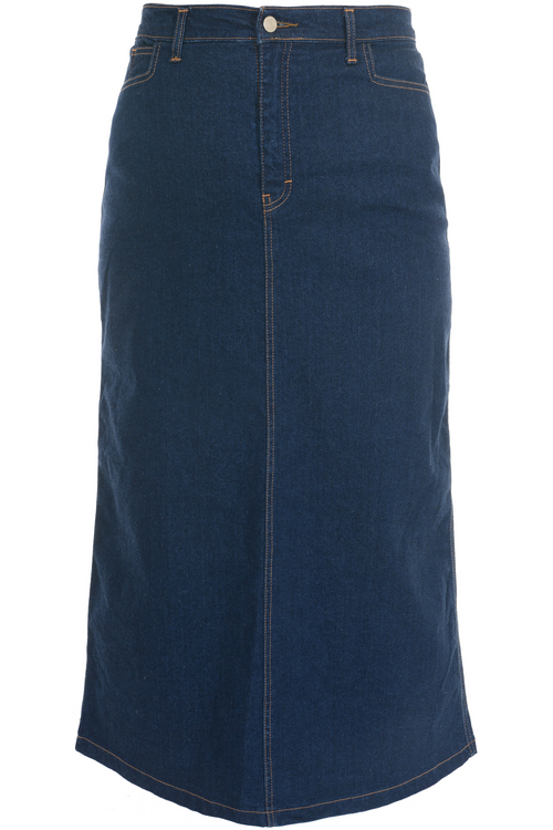 Women/Plus Straight Maxi Indigo Stretch Denim Skirt