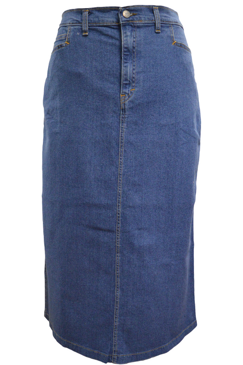 Women/Plus Straight Maxi StoneWash Stretch Denim Skirt