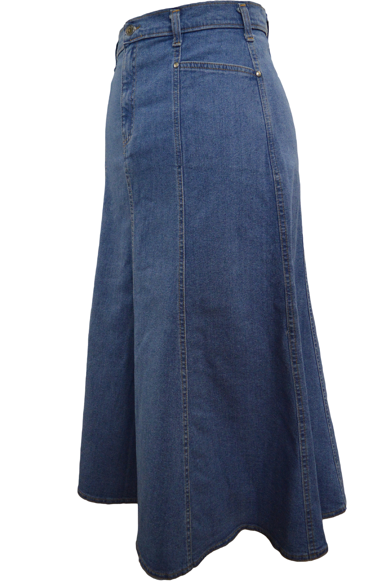 Women/Plus Long Flared Stonewash Stretch Denim Skirt