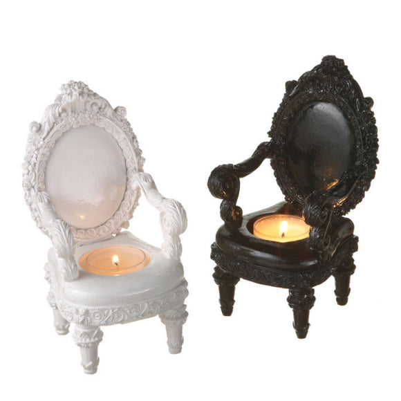 CBK French Chair Baroque Tealight Holders  - Black & White (Set of 2)