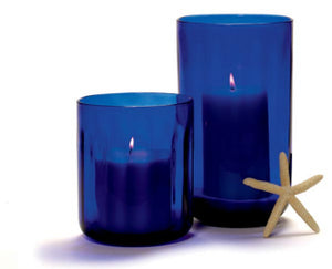 TAG Cobalt Glass Hurricane Vase & Candle Holder - Short