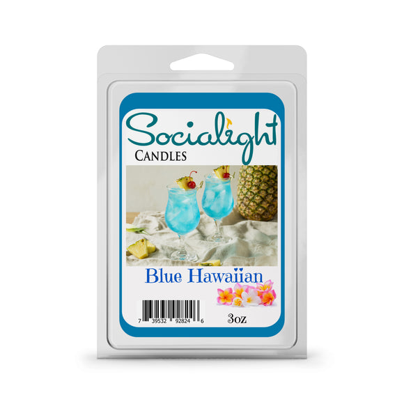 Socialight Candles - Blue Hawaiian begins with mouth-watering top notes of juicy orange, lemon, and maraschino cherries; followed by tangy pineapple, acai berry, and sea spray; well rounded with base notes of sweet coconut, vanilla rum, and fresh ozonic notes.