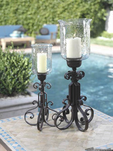 Zodax Barcelona Rustica Wrought-Iron and Glass Hurricane Tall Candleholder
