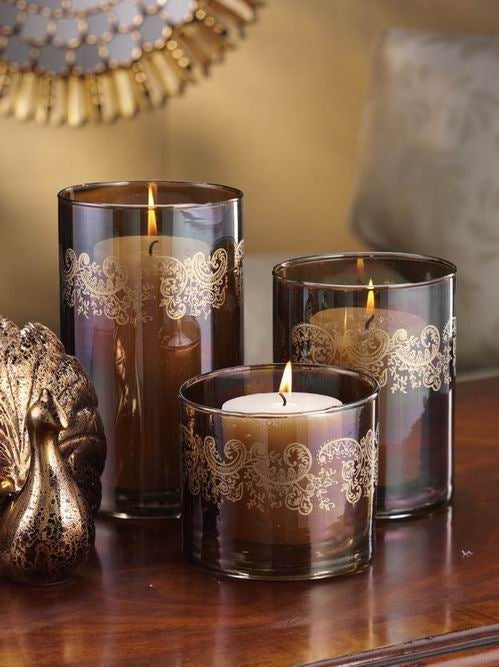 Paisley Glass Candle Hurricanes