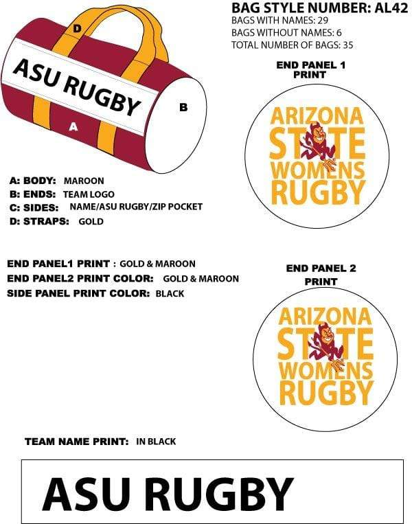 ASU Custom Duffel Bag - Ruggers Rugby Supply