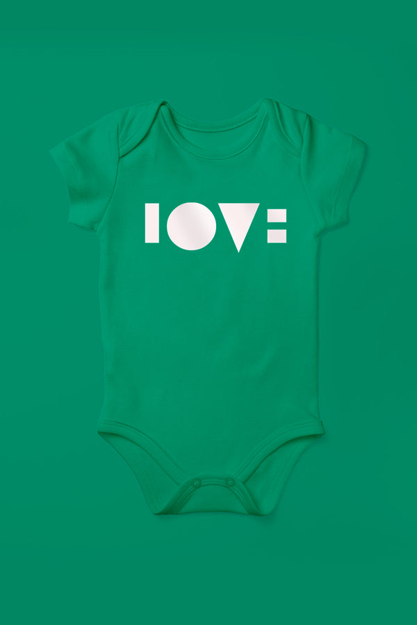 Love Kelly Green Babygrow (Short Sleeve)