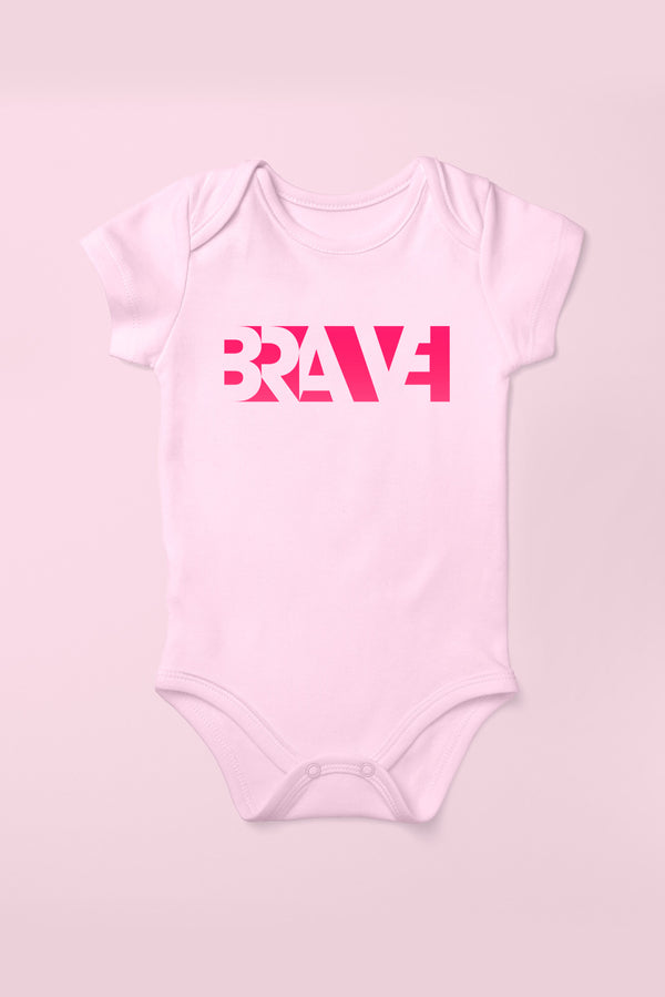 Brave Cotton Pink Babygrow (Short Sleeve)