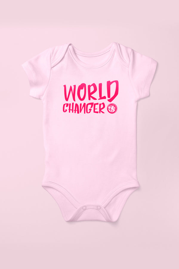 World Changer Cotton Pink Babygrow (Short Sleeve)