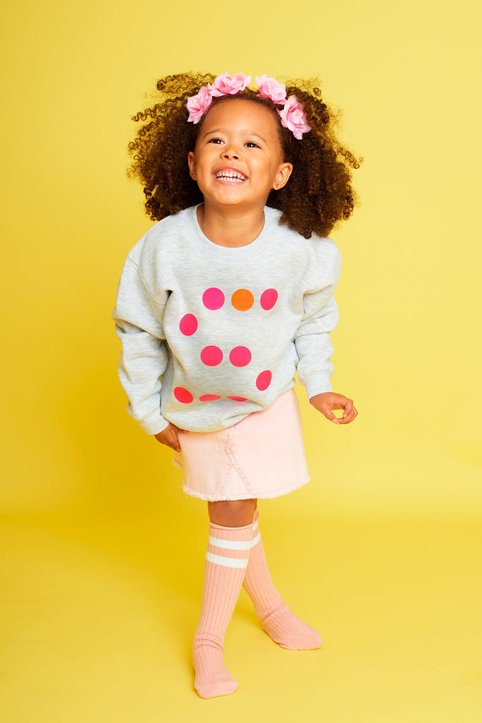 Initial (Pink) Heather Grey Kids Sweatshirt