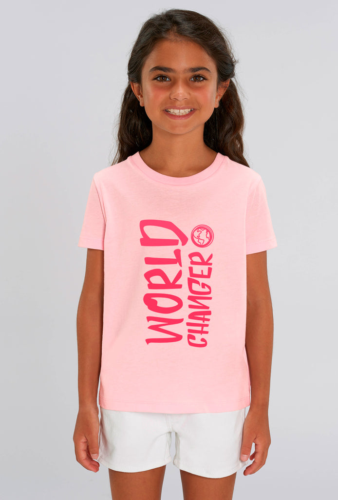 World Changer Cotton Pink Kids T-shirt