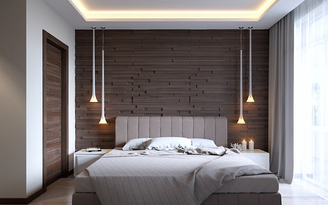 modern minimal bedroom lighting