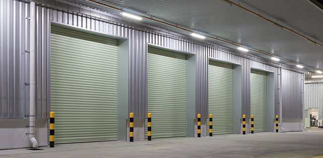 roller doors outside factory building