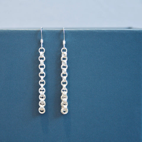 Sterling Silver Double Chainmail Earrings